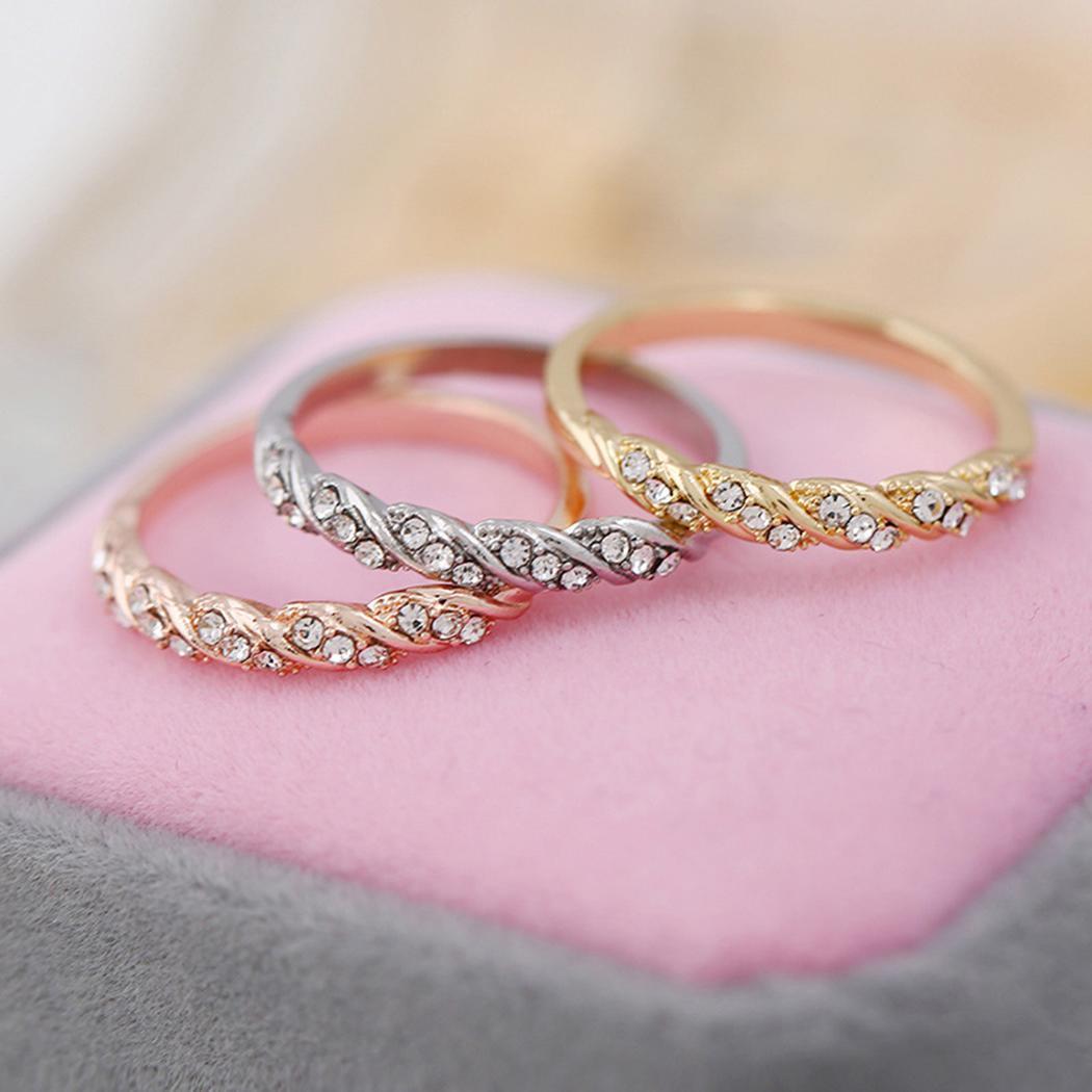 New Women Fashion Casual Rhinestone Decor Jewelry Charm Wedding Ring ...