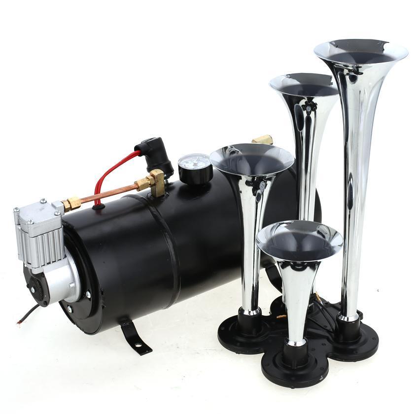 details about 4 trumpet air horn 12v 100psi compressor kit tank gauge hose  car truck train usa